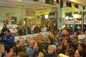 "Crowd at Bluestockings for the screening of ""Skin Trade."" Photo by Robert Jensen and used with permission."